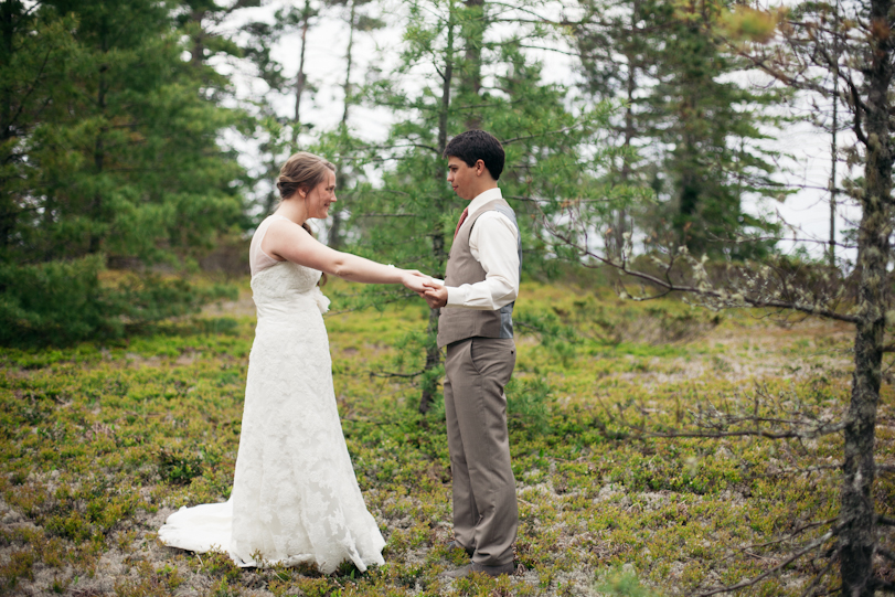 Bride and Groom in Michigan Woods