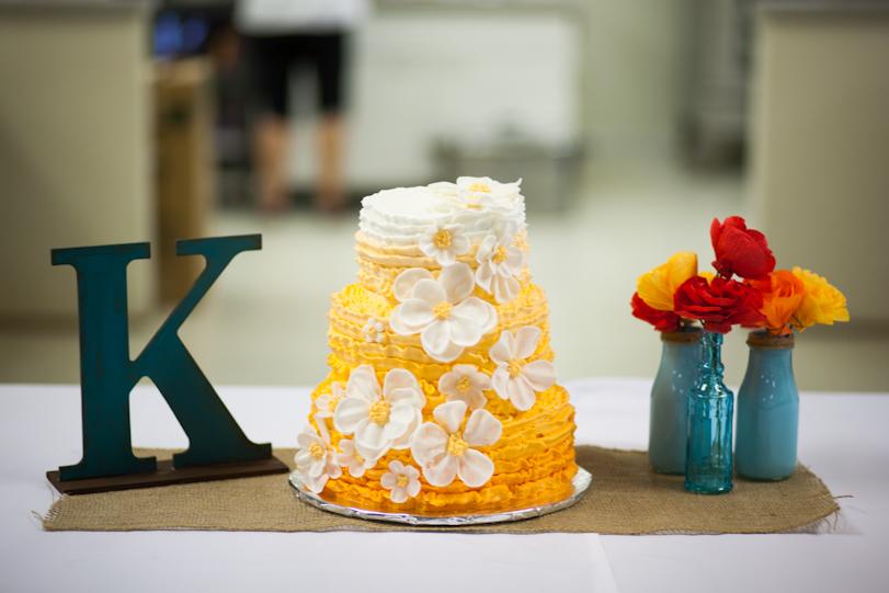 Orange Ribbon Wedding Cake