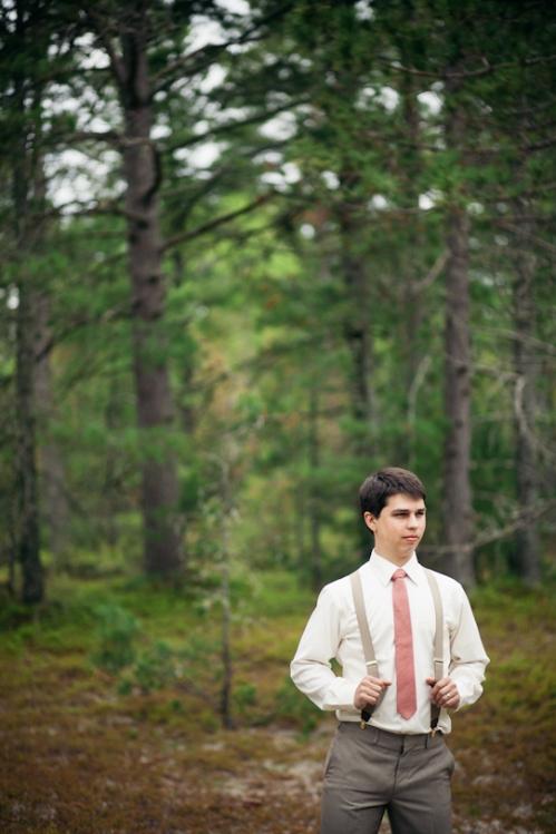 Groom in the woods