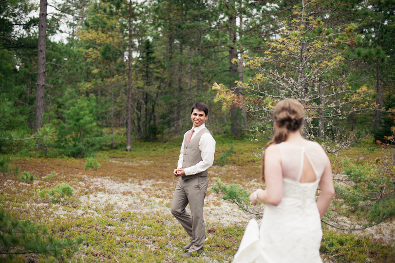 Bride and groom First look in the forest